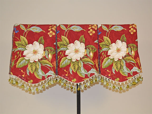 Shaped Box-Pleated Valance with Tassel Trim